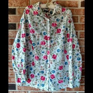 3/$20 Talbots Plus Floral Button Down Shirt 18W